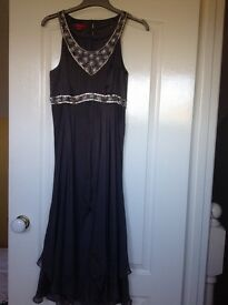 Beautiful Silk Slate Grey & Silver Monsoon Dress