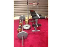 Benches bar and weights