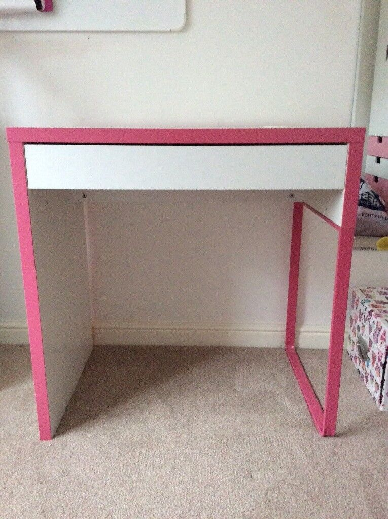 Ikea Desk (white with pink trim) Great condition.