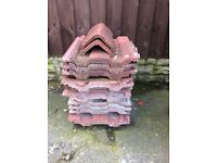 12 red roof tiles and 2 ridge tiles -cheap