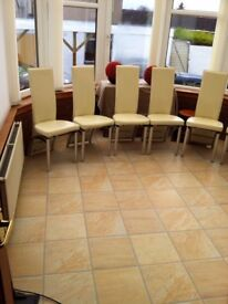 SIX WHITE & CHROME HIGH BACK DINNING CHAIRS.