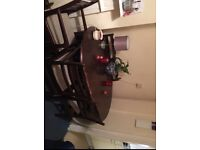 Mahogany extendable table with 6 chairs