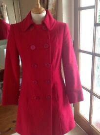 NEW PER UNA size 10 LADIES Red Lined double breasted winter coat