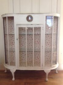 Vintage Shabby Chic Bow fronted glass fronted display cabinet with Queen Anne legs