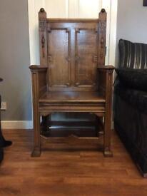 Antique Carved Oak Wood Gothic Medieval Large bishop Arm Chair