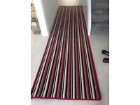 Large hall carpet runner - 365 x 92 cm - red cream and black striped