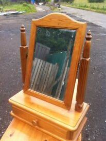 Beautiful, quality solid pine dressing table mirror with felt lined trinket drawer