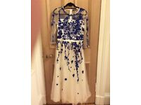 Cream long elegant dress with blue embodiry size 8/10