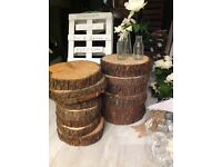 Thick wooden tree trunk slices LOGS - cake stand - centre piece - VINTAGE BARN WEDDING