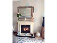 Cream fireplace.