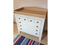 Mamas and Papas Savanah matching ivory baby wardrobe, chest of drawers and shelf.