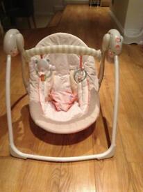 Mamas & papas Moses basket, bright stars baby swing and baby bath & bath seat