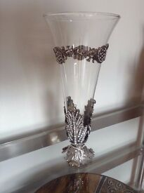 Ornate Glass and silver effect vase with diamante decoration.