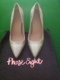 Phase eight high heel shoes gold sparkle .