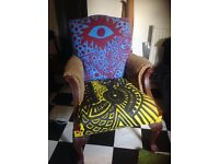 Antique armChair artist designed painted and upholstered - unique