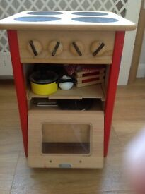 Cooker: wooden toy stove