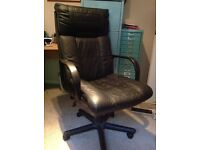 black leather office chair, in excellent condition. £25 .