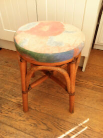 Bamboo Cane Stool with Cushion Padded Seat