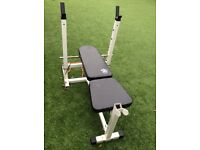 115kg olympic weights, barbell, mirafit rack and olympic bench