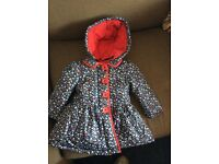 New flowery padded girl's 9-12 month coat with fleece lining/long sleeved top/fleece