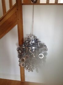 2xSilver metal Chandelier light fitting.