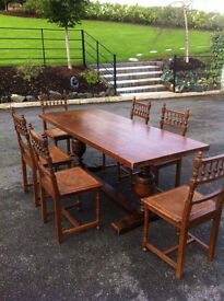 Antique Oak Dining Table & Six Chairs
