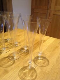 Handmade champagne glasses, etched with stars