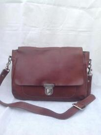 ALLY CAPELLINO CHESTNUT BROWN LEATHER SATCHEL BAG