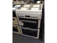 Beko 60cm white gas cooker with glass lid. £340 new/graded 12 month Gtee