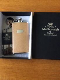 Brand New Marlborough Leather/ Stainless Steel Hip Flask in Gift Box