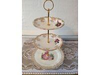 Vintage white/Gold/Pink Bone China 3 Tier Cake Stand.