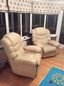 Recliner cream leather armchairs