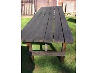 Large pine picnic table