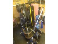 Power cage weight bench and weights