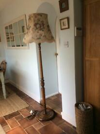 Vintage Light Oak Floor Standing Lamp with Shade