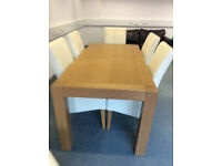 Modern Light Oak Dining Room Table and 4 cream leather chairs