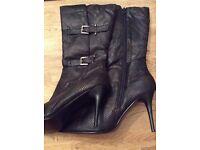 Ladies calf high snakeskin Stiletto boots size 8