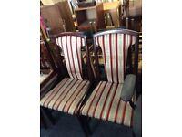 Set of 4 regency strip mahogany dining chairs