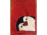 Red Fluffy Penguin Blanket