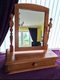 Dressing table mirror with draw