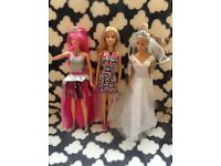 3 x Barbies including singing rock-n-royals Courtney