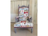 Stunning Victorian Arm Chair Shabby Chic Throne Chair bespoke re vamp conservatory chair