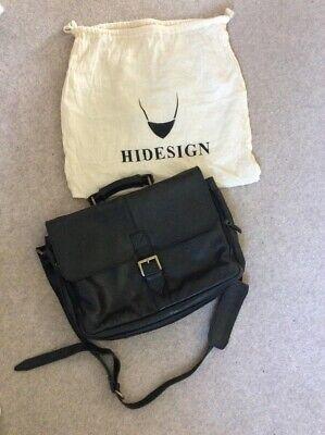 Stylish HIDESIGN Leather Briefcase Black Tweed Lining VGC School Work Office