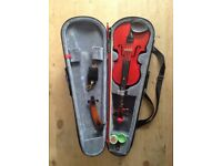 Stentor (Metallic Red) Harlequin 1/2 Size Violin and accessories.