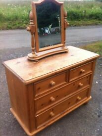 OMG Stunning vintage quality chunky pine two over two pine chest of drawers with awesome mirror