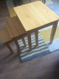 A set of three side/ coffer tables light oak solid wood