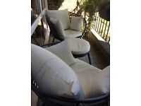 Two very comfortable patio chairs and table/stool