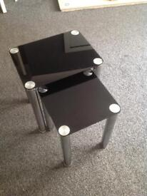 """42"""" Tv Stand & Nest of tables black glass"""