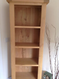 SOLID WOOD TV TABLE & MATCHING SHELVING UNIT