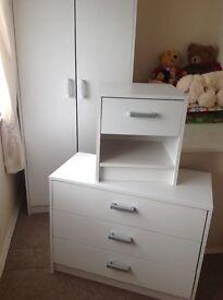 Wardrobe, chest drawers & bedside set